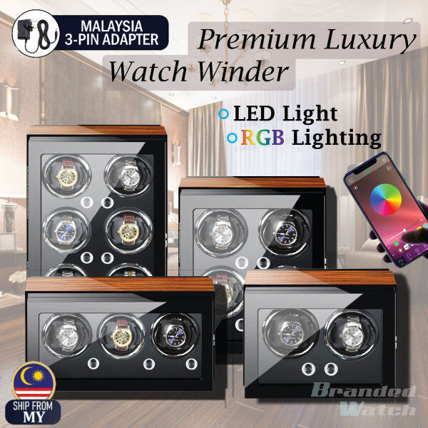 High Quality Premium Luxury Auto Vertical Watch Winder RGB Bluetooth LED Light Android / IOS Automatic Rotate Watch Box 2 Slots / 4 Slots / 6 Slots Premium PU Leather For Watch Collector (Gift Box Present, Watch Lover, Luxury Watch Box) Malaysia