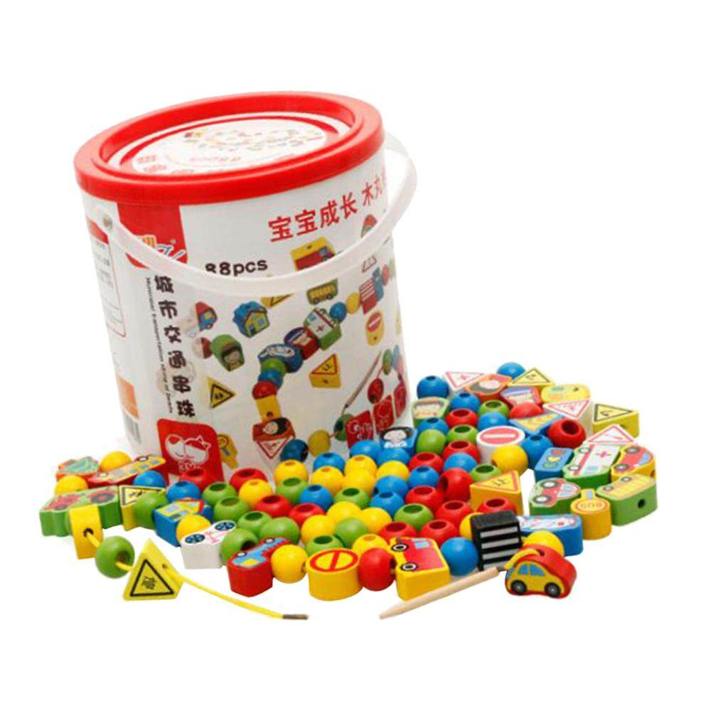 BolehDeals 88pcs Montessori Lacing Beads Toys for Toddler Traffic Threading Beads Toys