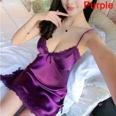 Lianjing Nữ Lụa Áo Dây Đầm Váy Ngủ Váy Ngủ Đồ Ngủ Đêm