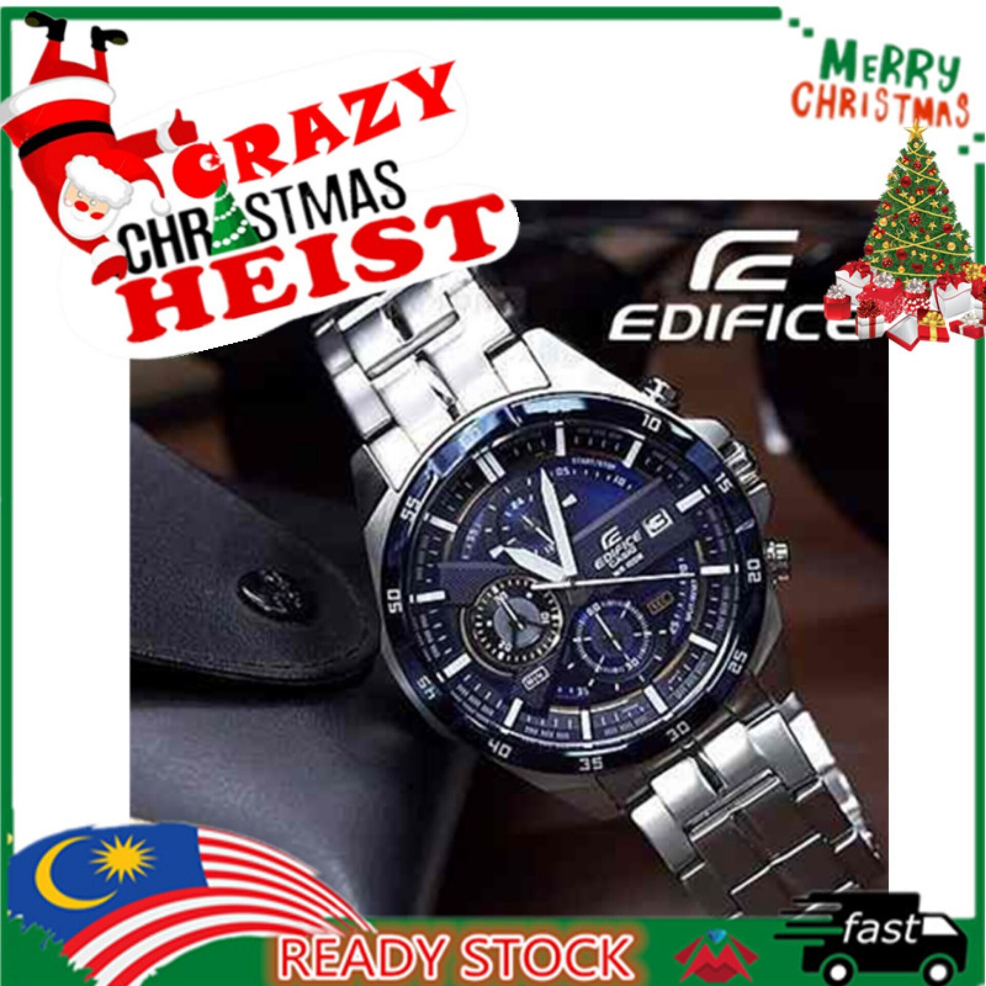 Casio_Edifice EFR 556 series All Function Fashion Leather / Stainless Men Steel Watch Malaysia