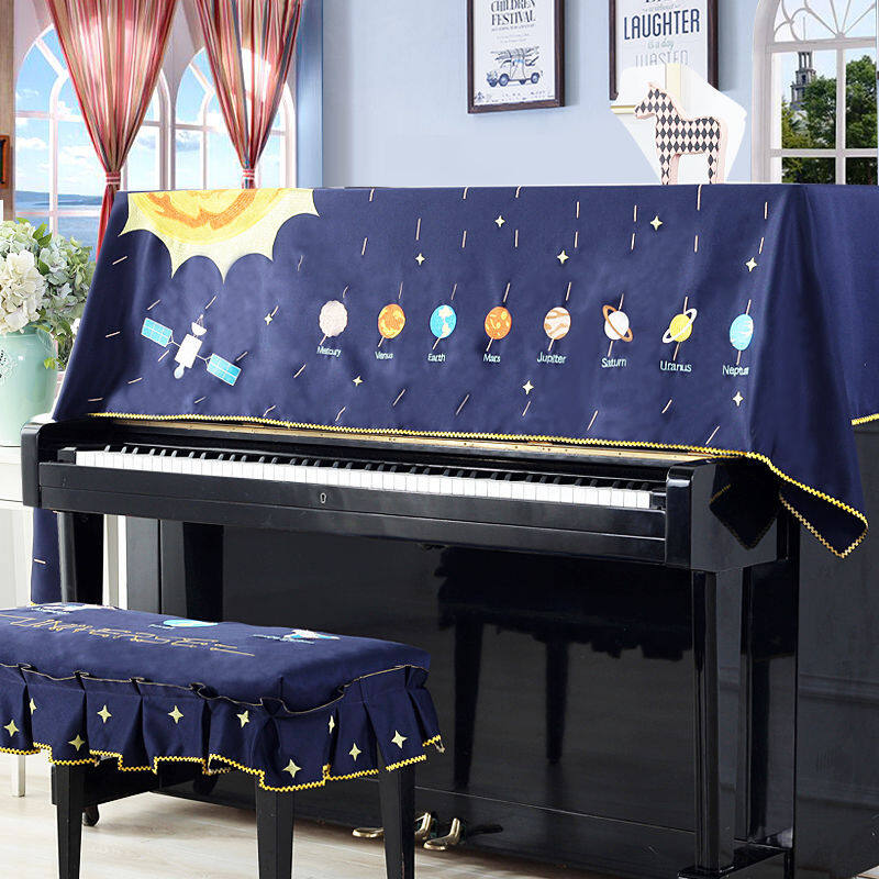 2020-newChildrens piano stool cover full wrap around the fraction embroidery general piano piano cover space cover towel cloth dust cover contracted Malaysia