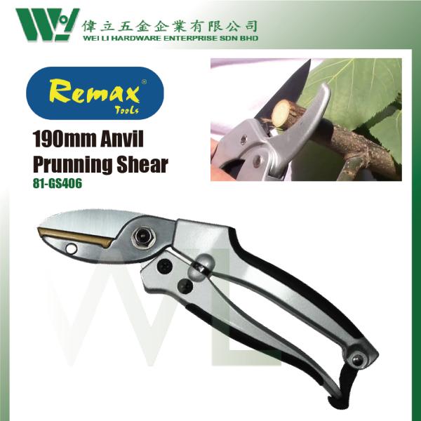 REMAX 190mm Heavy Duty Anvil Pruning Shear / Gunting Pokok Ranting ( 81-GS406 )