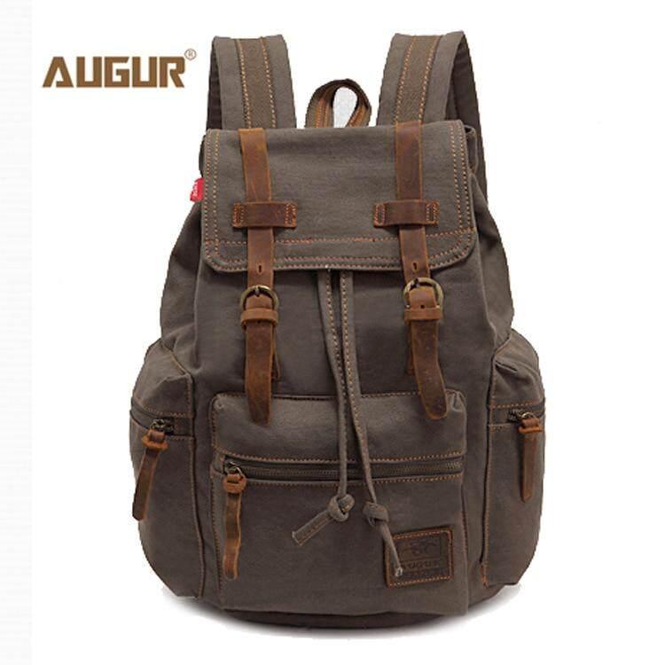 4413f4d96 AUGUR New fashion men's backpack vintage canvas backpack school bag men's  travel bags large capacity travel