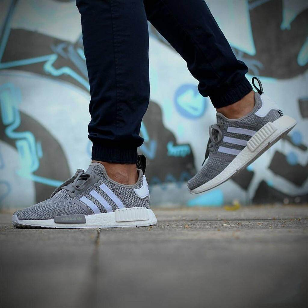 03d1825b789  shoes.my Authentic Adidas NMD R1 Boost black and white men leisure shoes