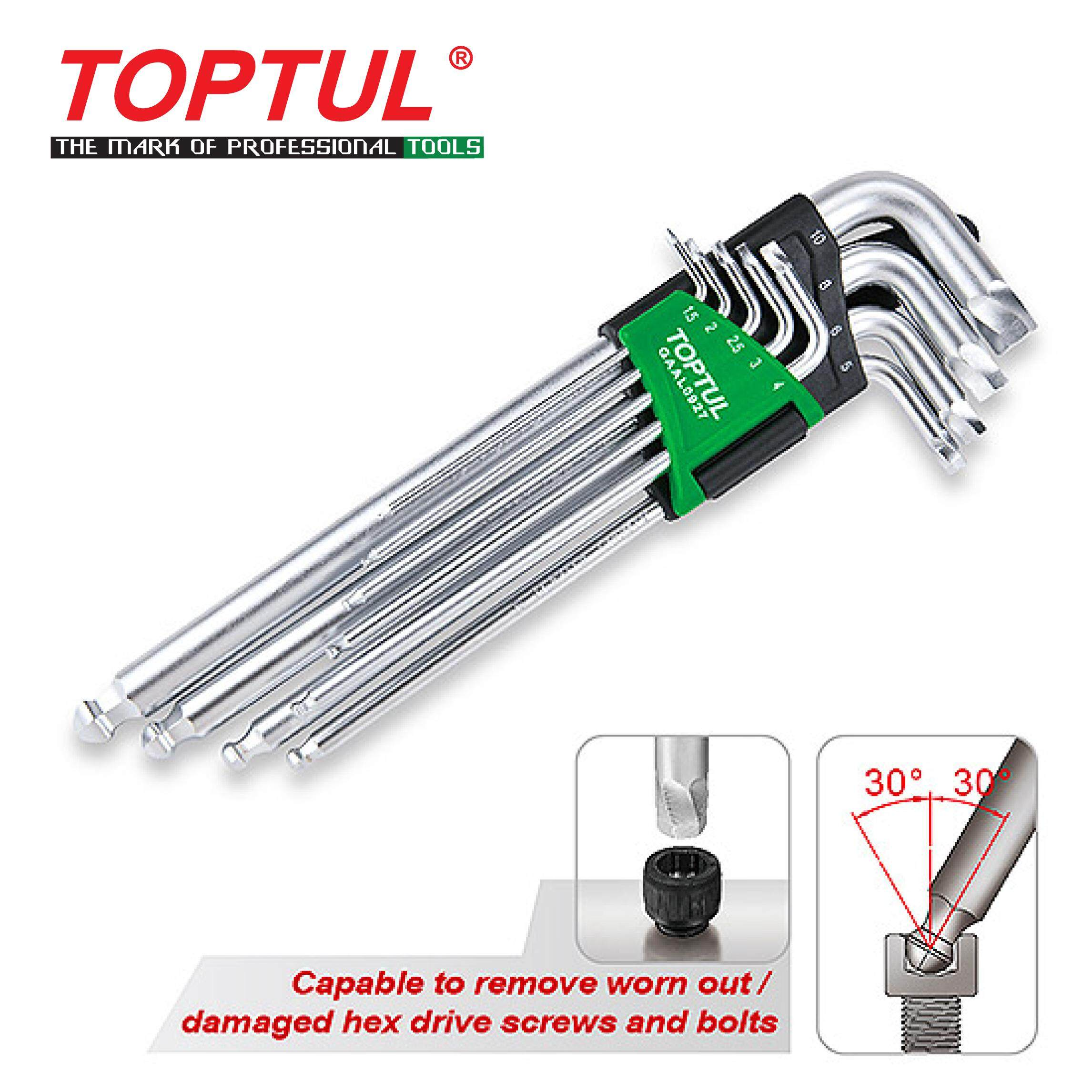 TOPTUL 9PCS Extra Long Type Ball Point Hex Key Wrench Set - Extractor (GAAL0927)