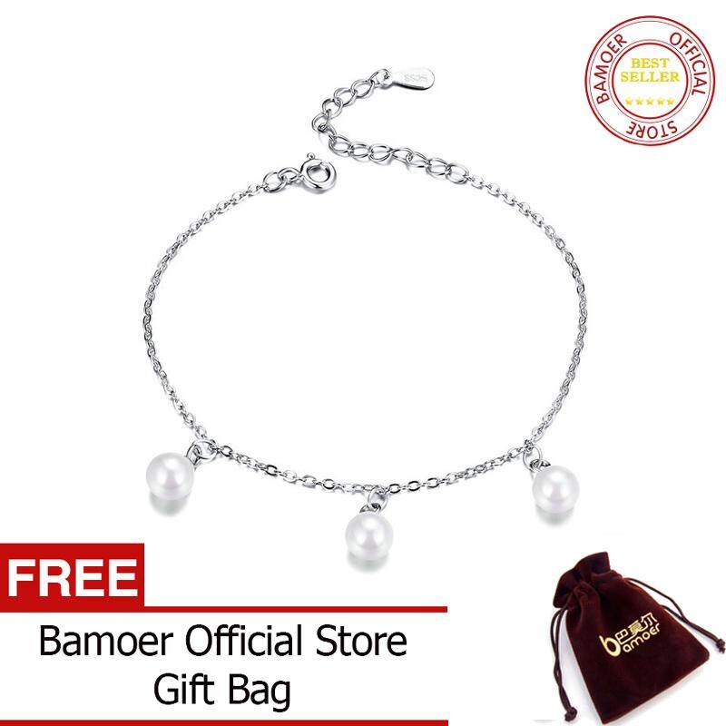 7ca302dff0fed BAMOER Pearl Chain Link Bracelet for Women 925 Sterling Silver Jewelry  Woman Minimalist Platinum Color Wedding Gifts SCB132 June