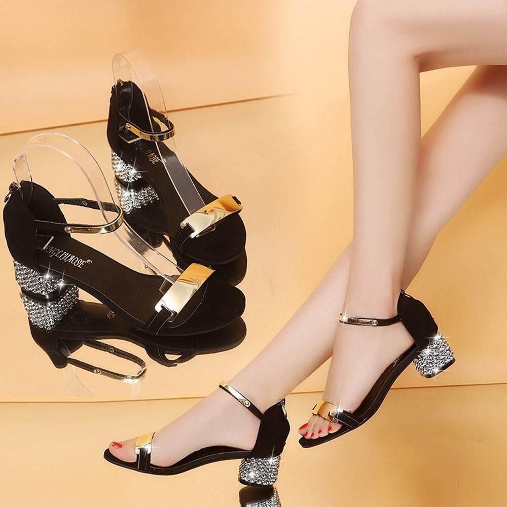 Auburyshop Summer Women Sandals Open Toe Shoes Flicker Square Heel Shoes  Gladiator Shoes Reference EU cd300debd3f6