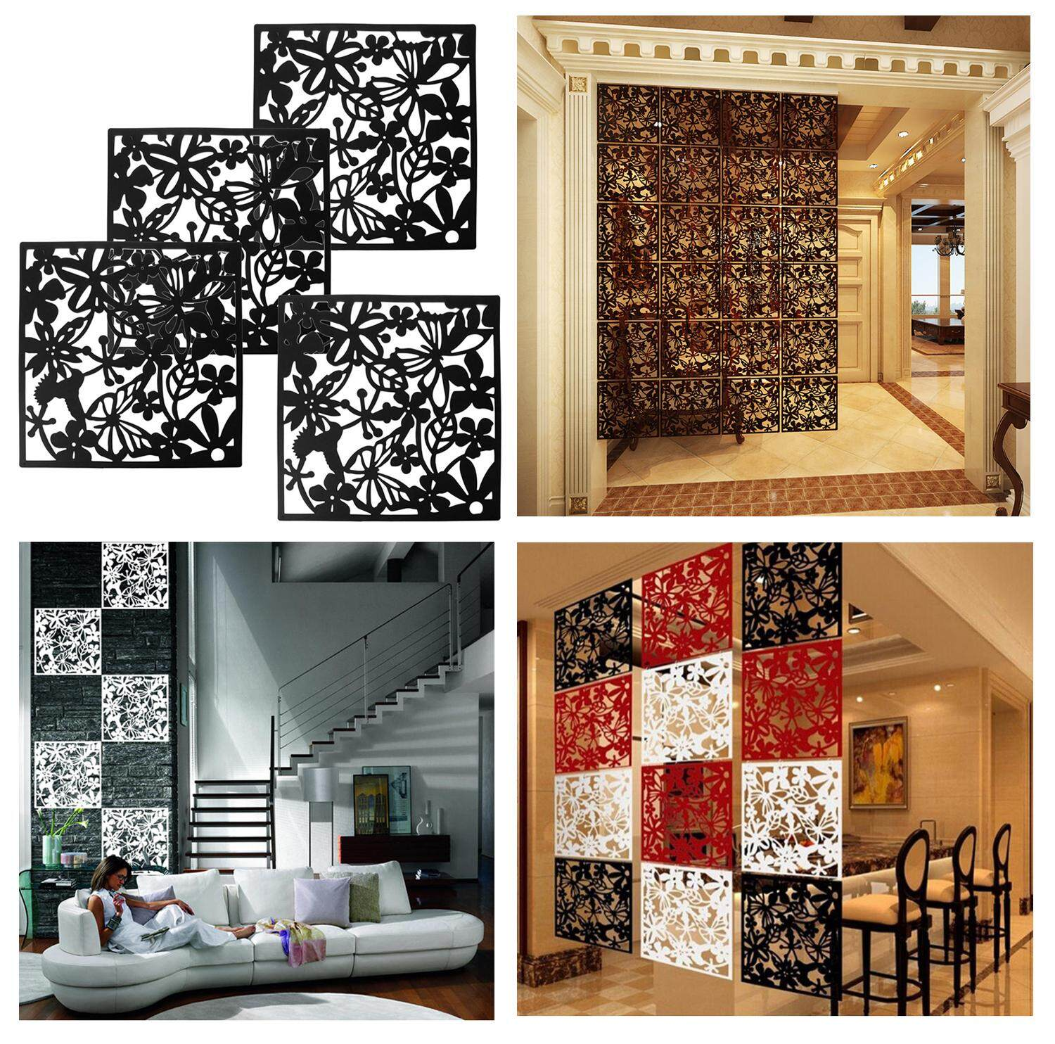 4pcs Modern Hanging Screen Partition Room Divider Panel Room Curtain Butterfly Flower Home Wall Sticker Decoration