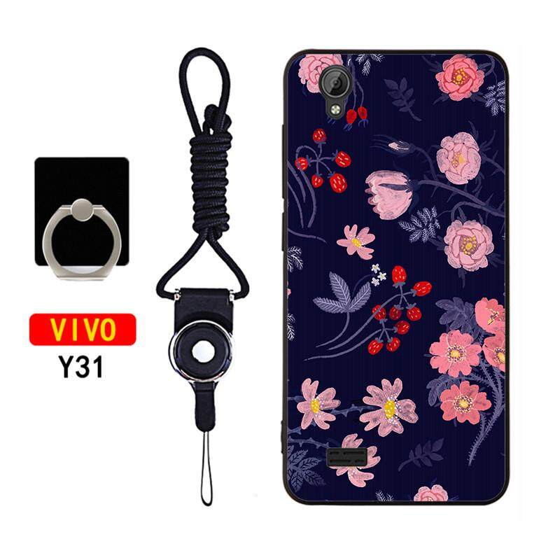 Phone Case For Vivo Y31 Silicone Soft Phone Back Cover With String & Holder  Ring