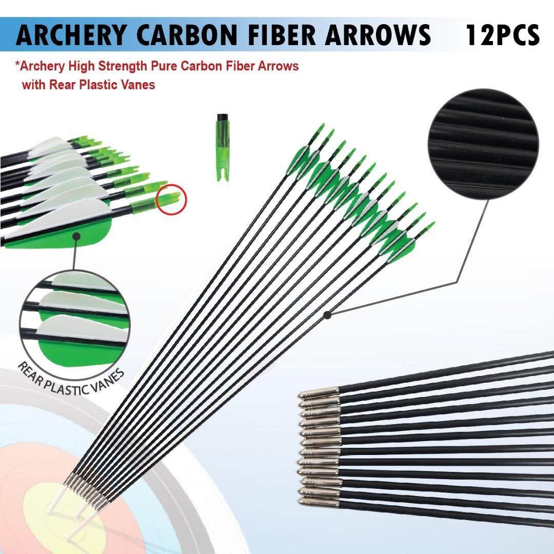 12 Pcs Od 6mm Fiberglass Arrows Bullet Tips Archery Recurve Compound Traning By Imart88.com.