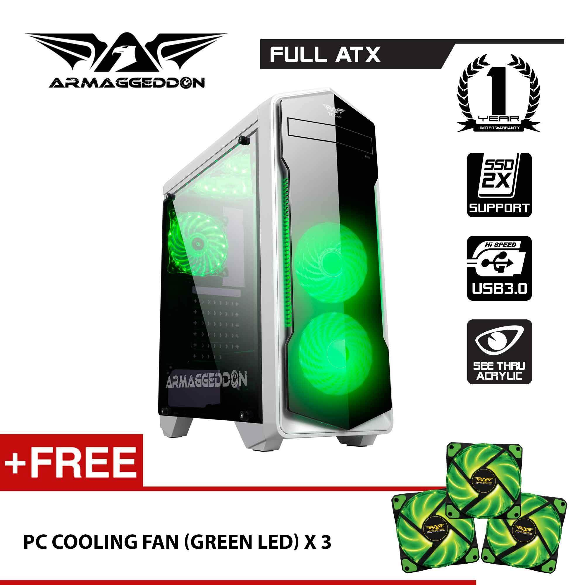 Armaggeddon T5x Pro Full ATX - Smart Gaming Structure PC Case Free LED Cooling Fan (x3) Malaysia