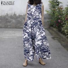 ZANZEAผู้หญิงแฟชั่นพิมพ์Jumpsuit Oคอแขนกุดข้อเท้าขากว้างPlaysuitsหลวม