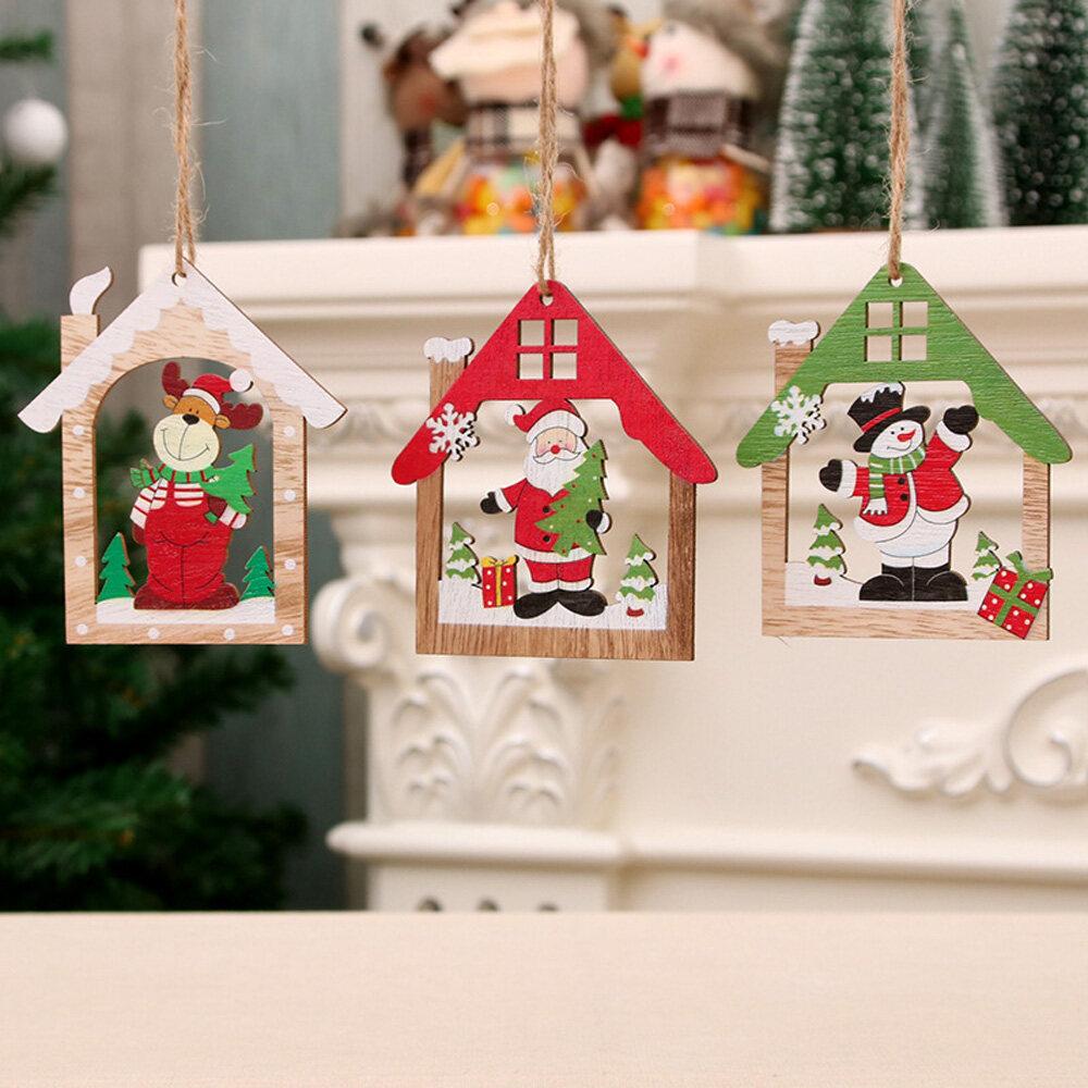 1* Natural Creative Home Snowman Party Xmas Santa Claus Christmas Decoration Wooden Pendants Tree Ornament Wood Crafts