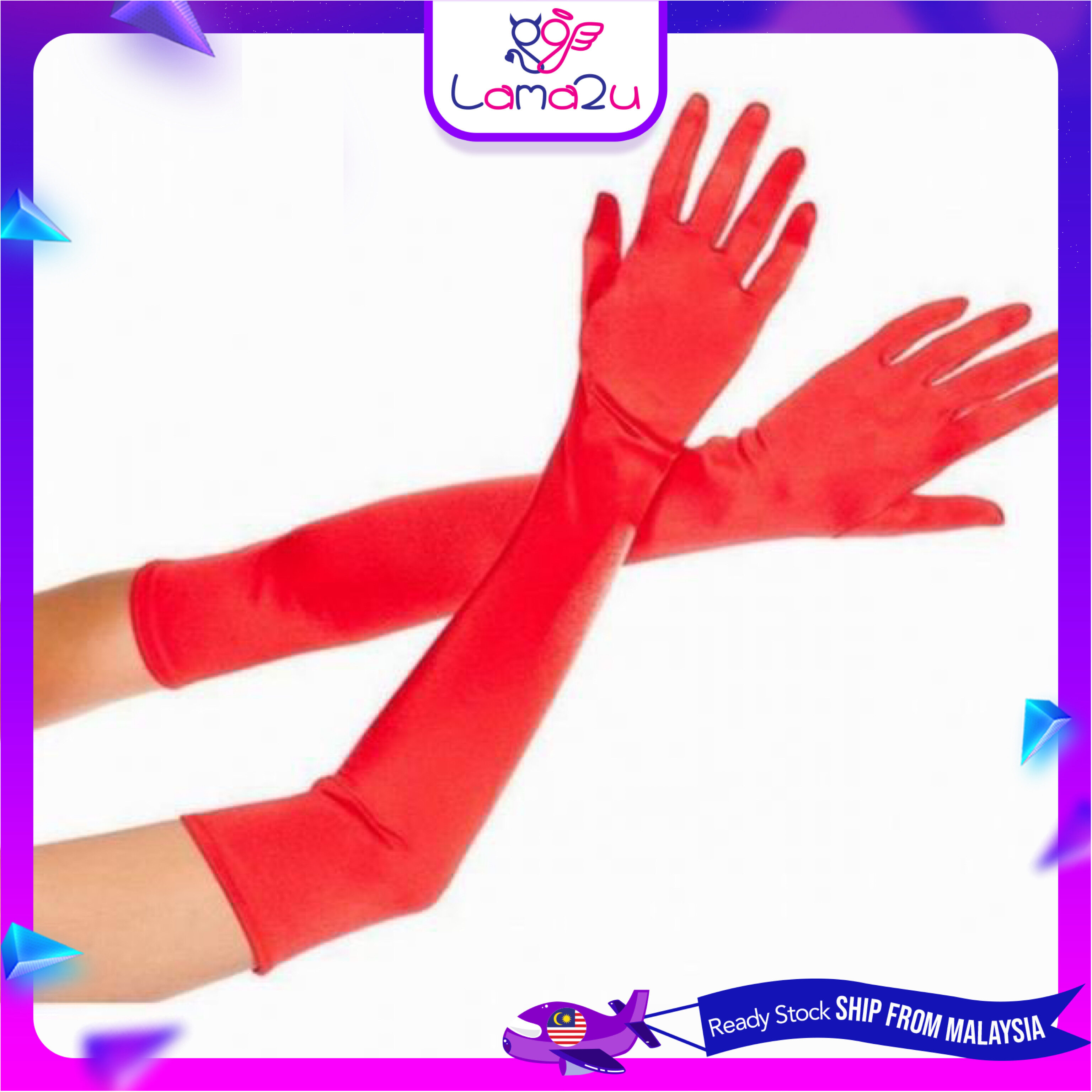 Satin Long Finger Elbow Sun Protection Gloves Opera Evening Party Prom Costume (Long Glove)