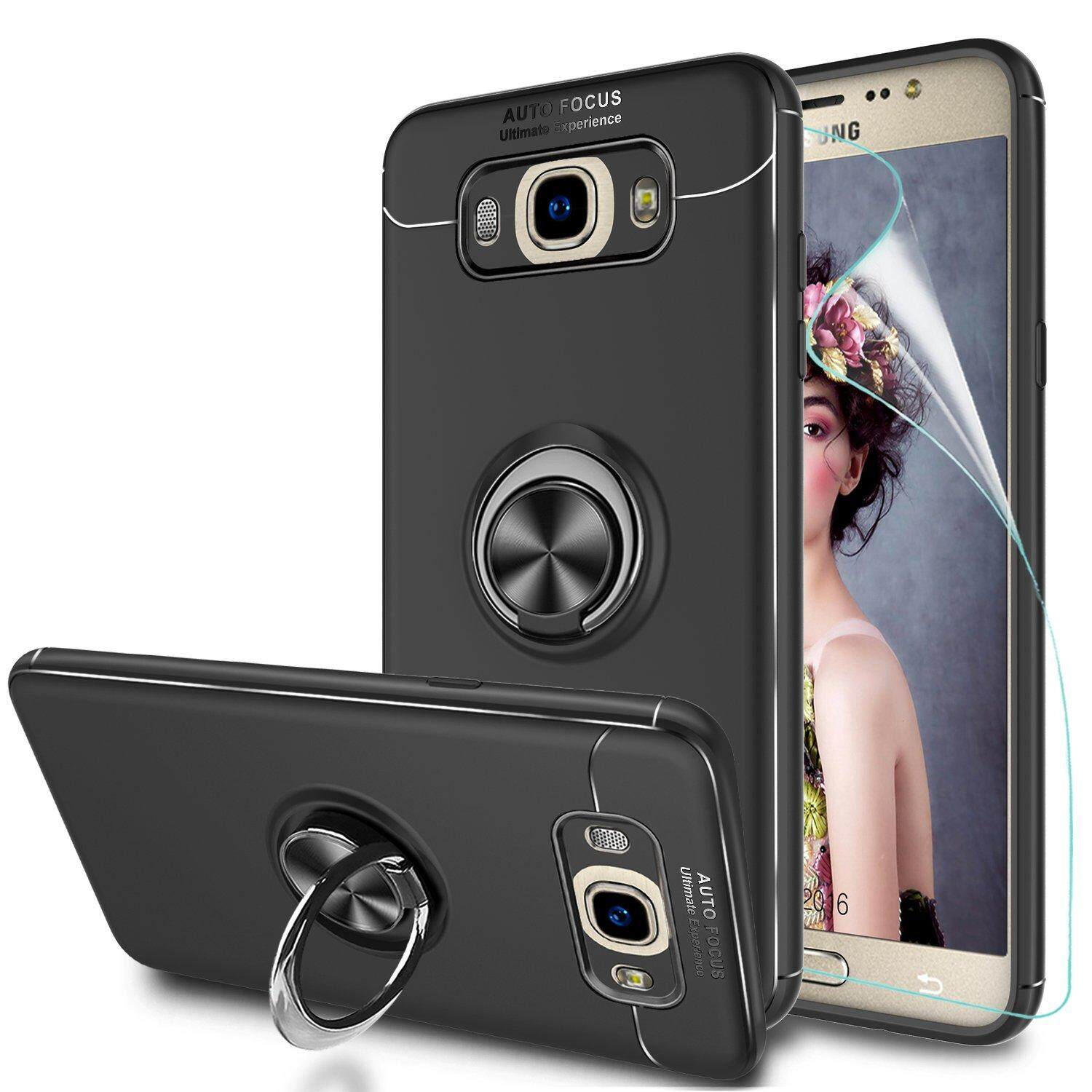 Galaxy J7 2016 Case with Ring Holder, Rotating Kickstand Stand for Car  Magnetic Mount Slim Soft Shockproof Casing Silicone Gel TPU Phone Cover for