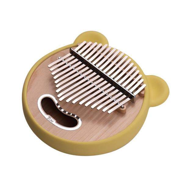 Tom TK-CI-CT 17-Key Round Shape Thumb Piano Kalimba Maple Wood with Carry Bag Musical Note Stickers Tuning Hammer Cleaning Cloth Cute Silicon Protective Cover