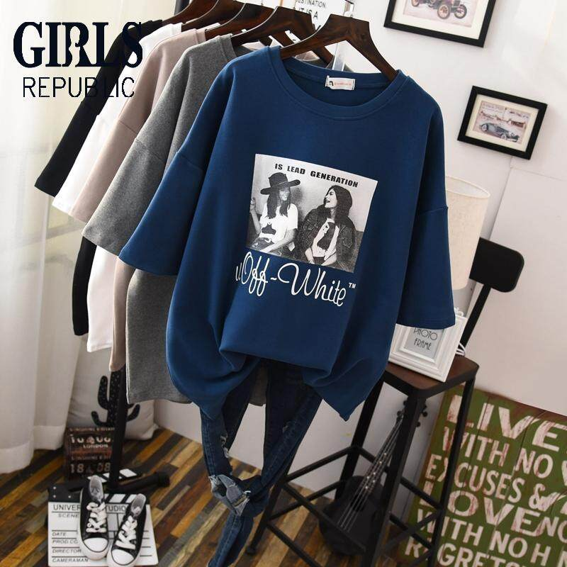e744e1de559785 Girls Republic lowest price Shaved thick fashion loose slimming  short-sleeved t-shirt female