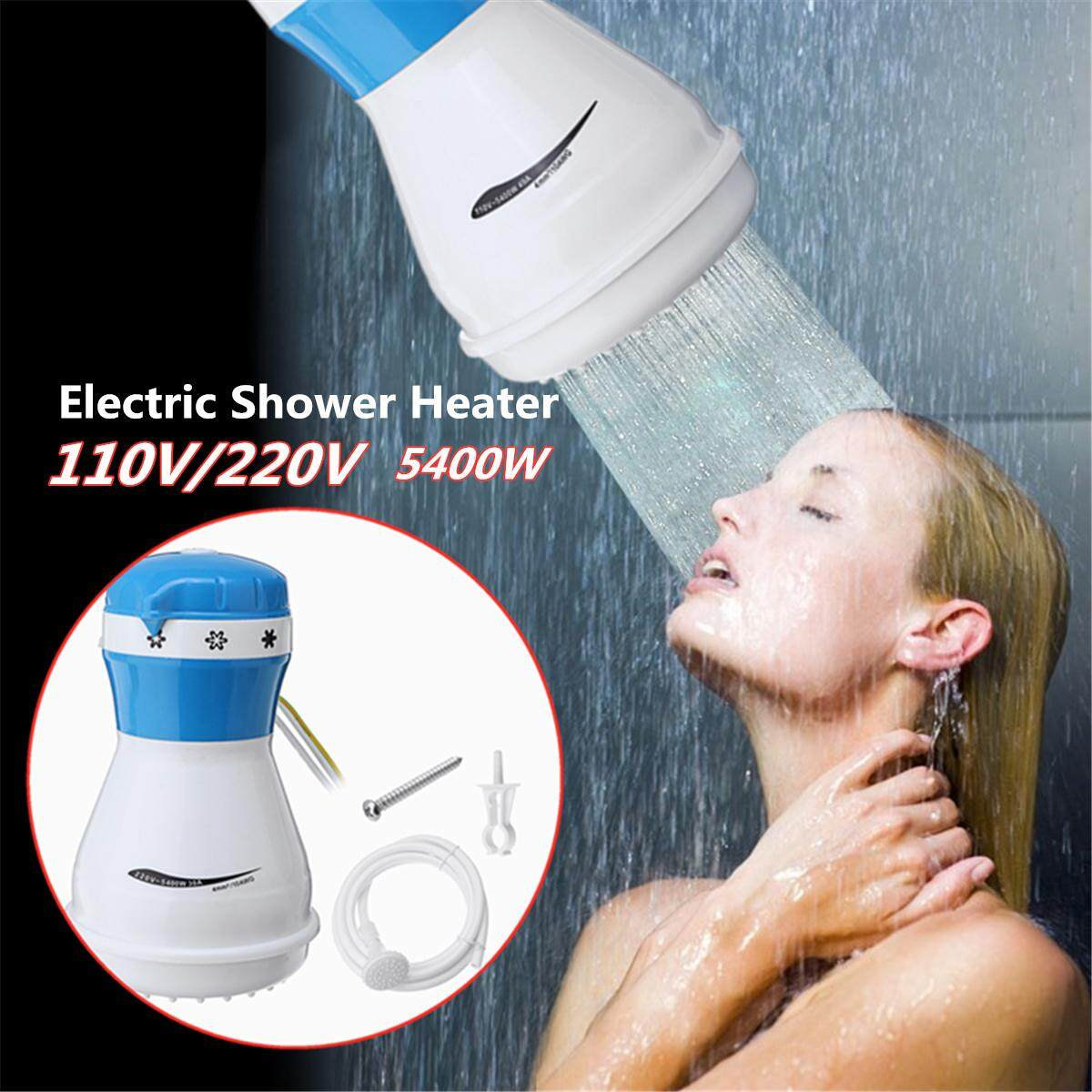 110V Electric Shower Head Instant Water Heater With Hose Bracket 5400W