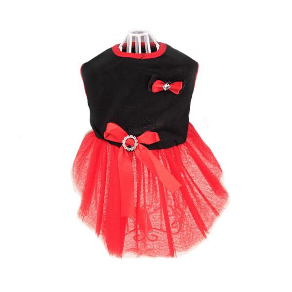 Fuwen®Chó Con Đáng Yêu Váy Xòe Nơ Váy Mỏng Mùa Hè Quần Áo Không Tay Màu Đen + Đỏ