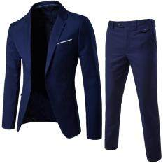 Benferry Bộ vest nam công sở màu trơn, cỡ lớn, gồm 2 món áo vest dài tay cổ ve và có khuy và quần