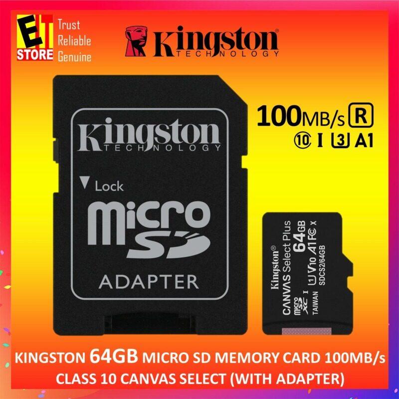 KINGSTON 64GB Thẻ Nhớ MICRO SD 100 MB/giây CLASS 10 CANVAS Chọn Với Bộ Chuyển Đổi SD (SDCS2/64GB)