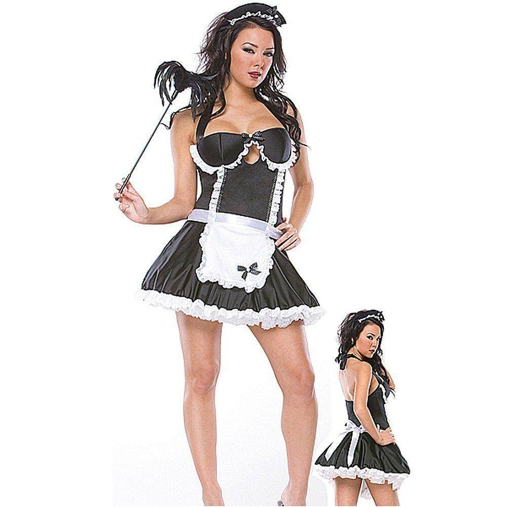 Sexy Black French Maid Cosplay Lolita Ladies Adult Party Fancy Dress Costume