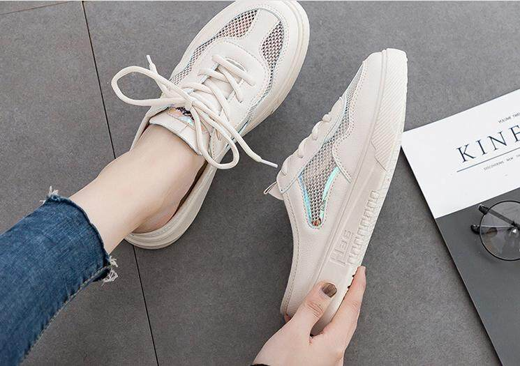 2019 Summer New Breathable White Shoes Women No Heel Half Support Students Korean Version Of The Wild Casual Shoes Womens Breathable Shoes By Us Good Mall.