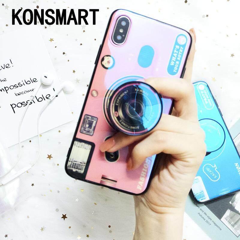Konsmart Fashion Kickstand Blue Ray Sarung Telepon Genggam untuk Samsung Galaxy A3 A5 A7 2017 A320 A520 A720 Silikon Lucu Penutup Pemegang dengan Dudukan untuk Samsung j3 J5 J7 2016 J310 J510 J710 J3 2015 J300 Kasus