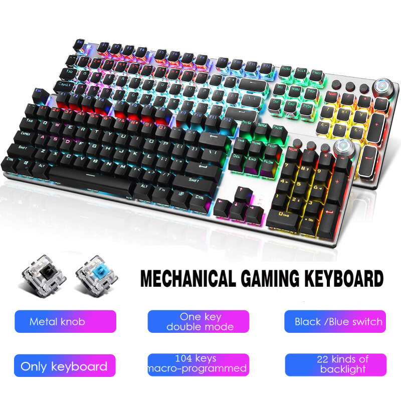 AULA F2088 108Key USB Gaming Mechanical Keyboard Blue/Black Switch Black/Punk Type Anti-ghosting Keyboard RGB Backlight With Multimedia Knob for PC Gamer Singapore