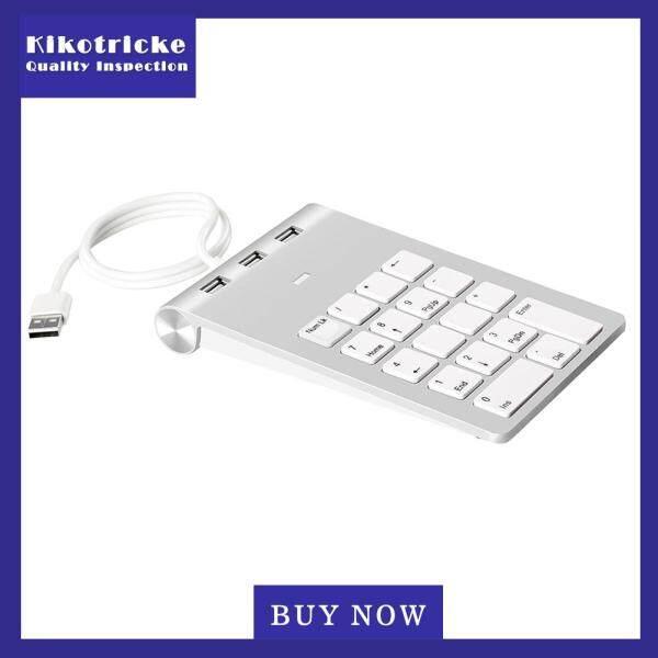 Wired Portable USB 2.0 18 Keys Numeric Keyboard HUB Keypad Silver Gray Singapore