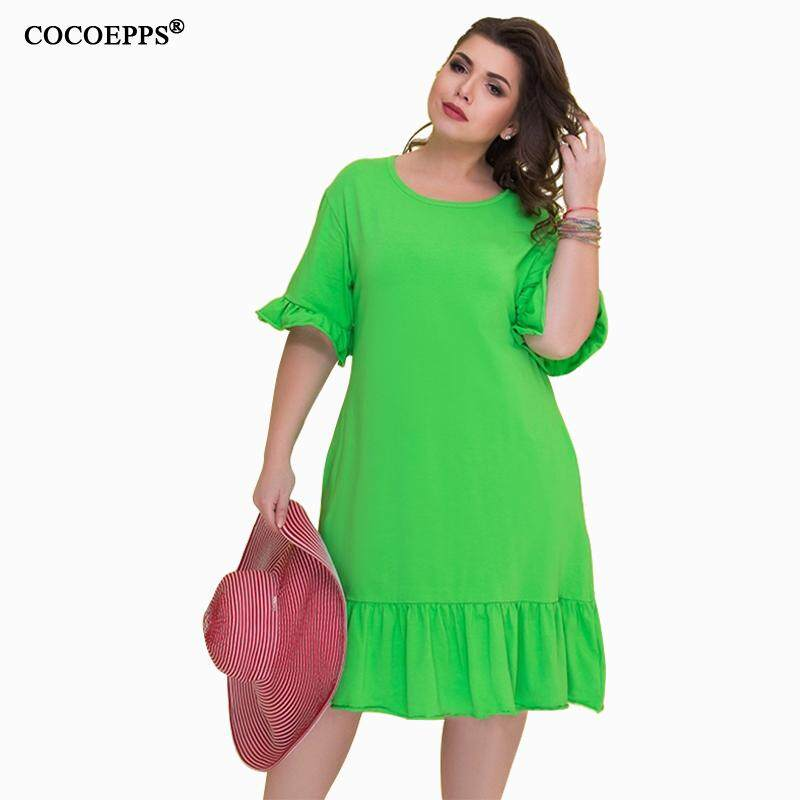 e48b4e31fa1ee 5XL 6XL 2018 Spring Big Size Women Dress Casual Summer Half Sleeve Plus  Size Dress Ladies