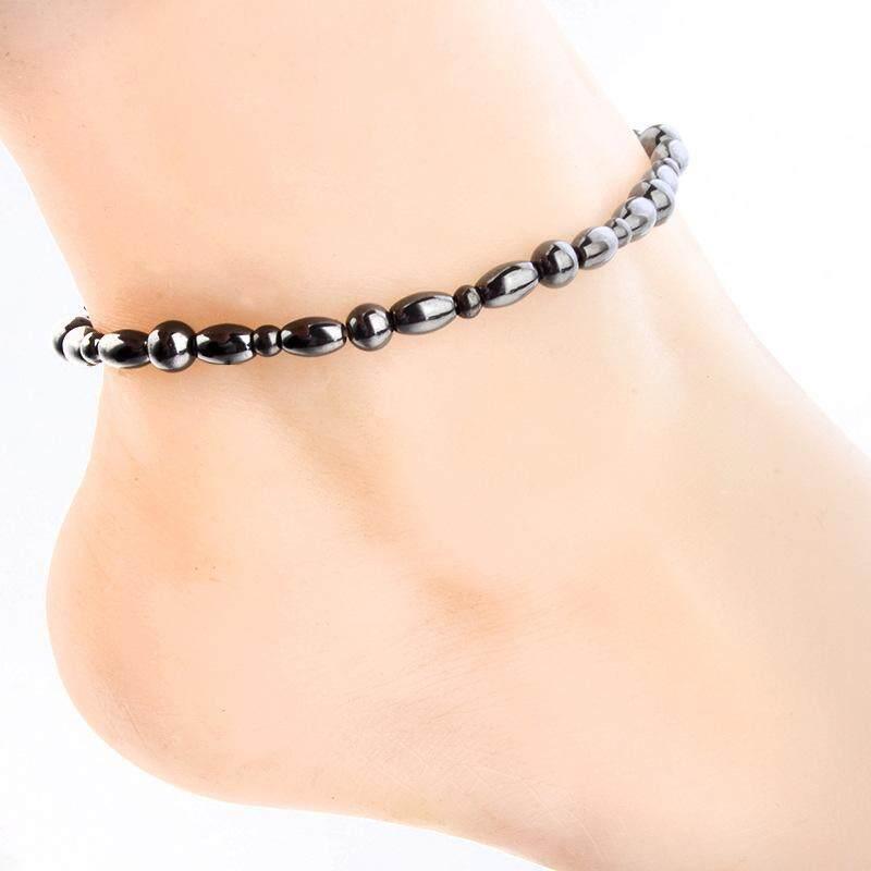 Perhiasan Gelang Kaki Magnetik Magnet Hitam Magnetoterapi Elastis Hiasan Kaki Slim Pengurangan Berat Badan Gelang