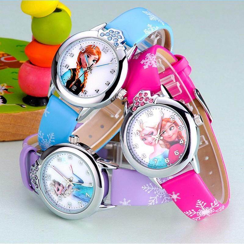 Hot cute ice romance children cartoon watch male and female pupils small dial casual leather hand with quartz watch Malaysia