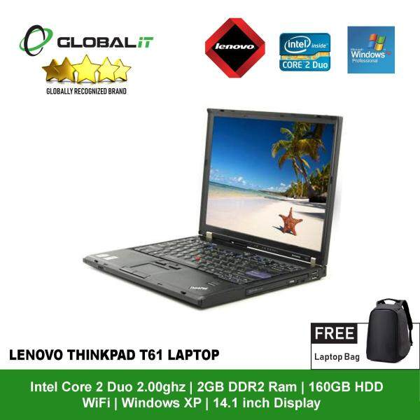 (Refurbished Notebook) Lenovo Thinkpad T61 Laptop / 14.1 inch LCD / Intel Core 2 Duo / 2GB DDR2 Ram / 160GB SATA HDD / WiFi / Windows XP Malaysia