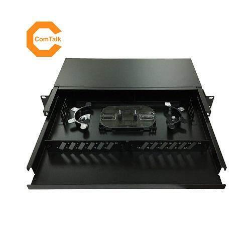 Dintek 1U Rack Mount Sliding Fiber Enclosure 24 Ports with SC Plates (Unloaded)