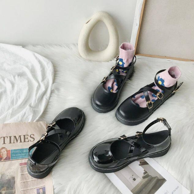 Giày Mary jane phong cách Nhật Bản cho nữ giày đế bệt màu đen bóng mũi tròn chống trơn trượt thời trang mới - INTL giá rẻ