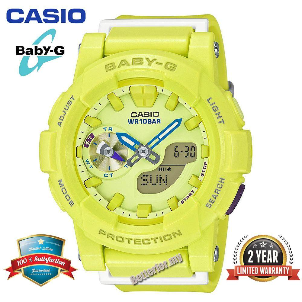 (Ready Stock)Original Casio Baby G_BGA-185-9A Women Sport Watch Duo W/Time 100M Water Resistant Shockproof and Waterproof World Time LED Light Girl Wist Sports Watches with 2 Year Warranty BGA185/BGA-185 Light Green Malaysia