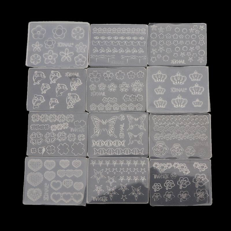 12 Cái Khuôn Silicon Làm Móng Nghệ Thuật Cỡ Nhỏ Mẫu Hình Động Vật Hoa Lá Dụng Cụ Gel Acrylic Khuôn Nhựa Dụng Cụ Làm Đồ Trang Sức