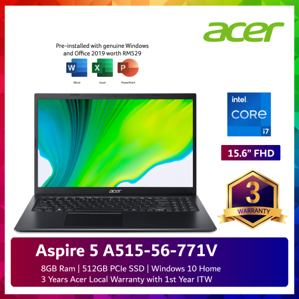 Acer Aspire 5 A515-56-771V 15.6 FHD Laptop Charcoal Black + Free Gift Asus Rog Delta Prism White Head-mounted Computer Gaming Headset Rgb Lighting E Malaysia