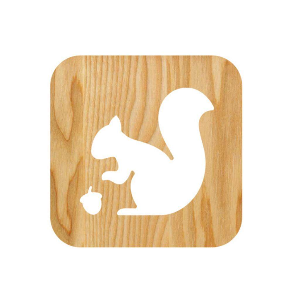 GUO Squirrel Model Night Lamp Wood Solid Night Lamp Hollow-out Carving Night Lamp