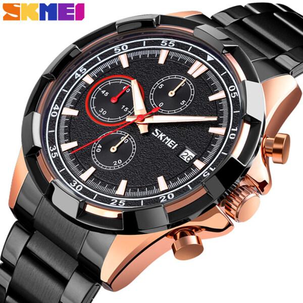 SKMEI Top Brand Mens Watches Fashion Business All Steel Quartz  Clock Men Casual Sport Waterproof Date Chronograph Watch Malaysia