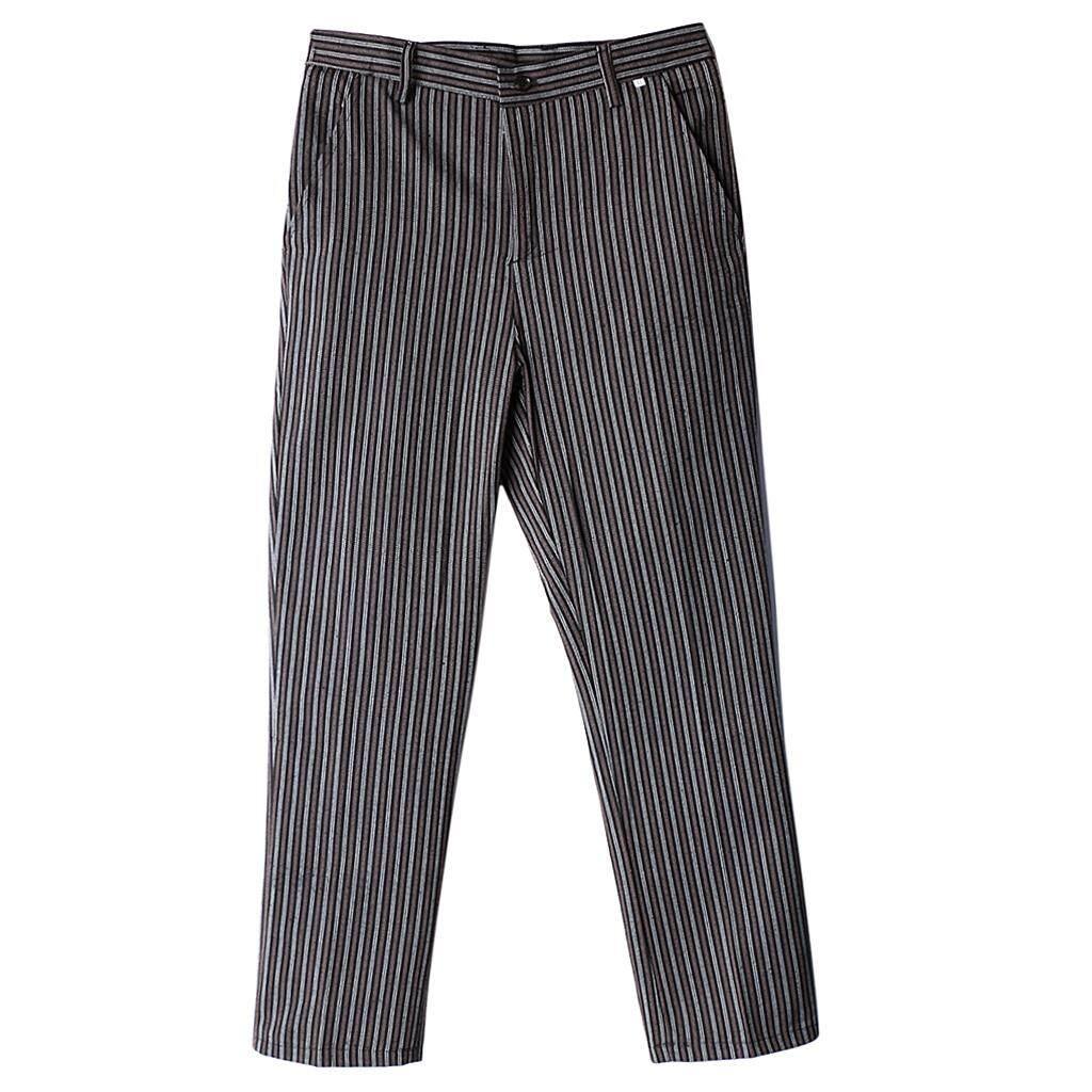 Fenteer Chef Work Pants Restaurant Kitchen Uniform Cook Trousers Elastic Waist