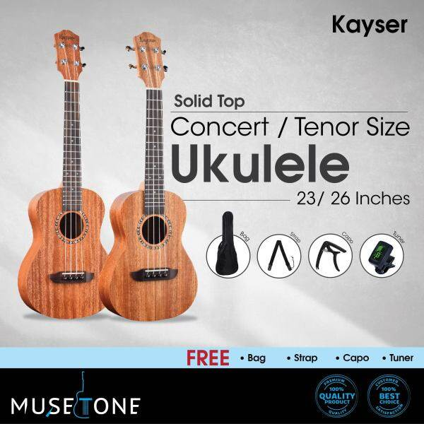 Kayser Solid Top Ukulele Concert / Tenor Ukulele best for Beginner to Intermediate with free gift Malaysia