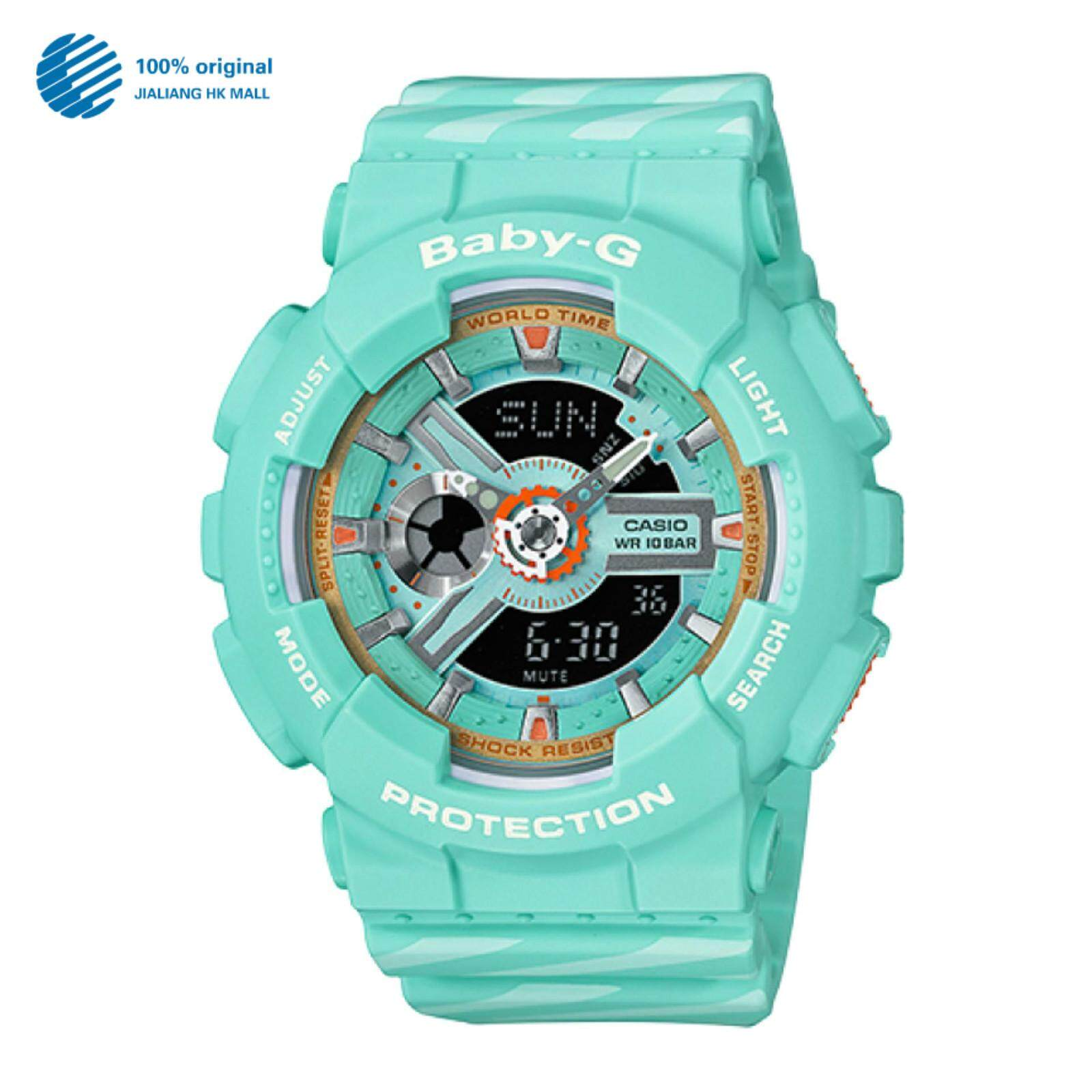 (2 Years Warranty) Original Casio Baby G_BA-110CH-3A Womens Multicolor Resin Strap Digital Watch Double World Time 200m Waterproof Shock-proof  LED Auto Light Watches BA-110/BA110 Malaysia