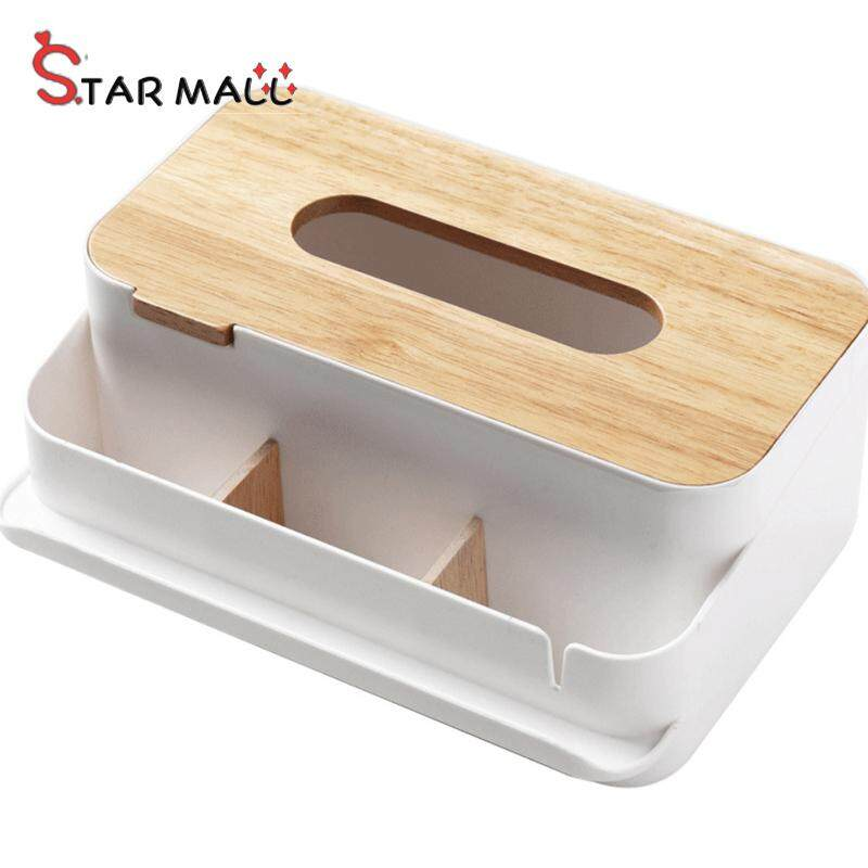 Star Mall Multifunction Removable Wood Cover Tissue Box Storage Organizer For Living Room Decor