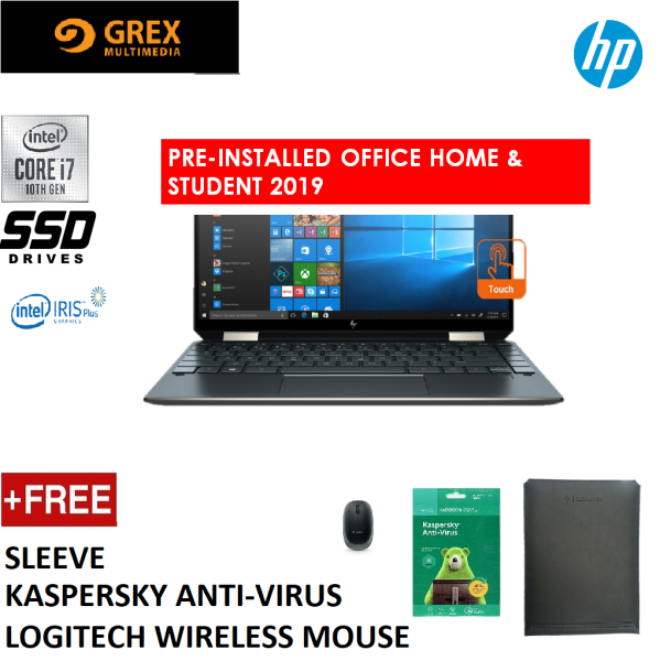 HP SPECTRE X360 13-AW0224TU LAPTOP (I7-1065G7,16GB,1TB M.2 SSD,13.3 TOUCH FHD,IRIS PLUS GRAPHICS,WIN10)KSPSKY ANTI-VIRUS + LOGITECH WIRELESS MOUSE + PRE-INSTALLED OFFICE H&S 2019 Malaysia