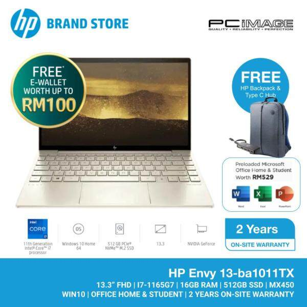 HP Envy 13-BA1011TX 13.3 Laptop/Notebook (i7-1165G7, 16GB, 512GB, NV MX450, W10, H&S) - Gold Malaysia