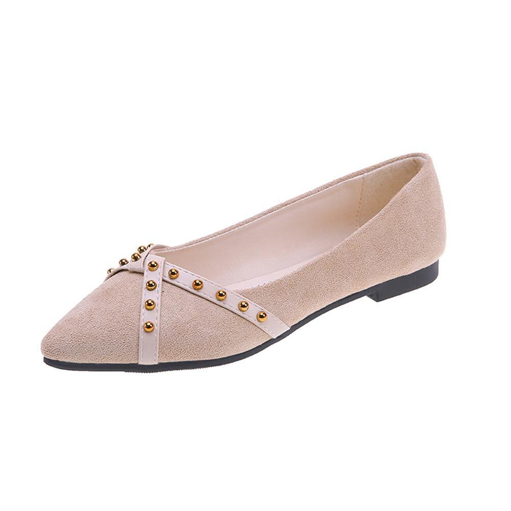 Giá bán Giày Mũi Nhọn Nữ Giày Đơn Giày Nông Mùa Xuân Mùa Thu Đinh Tán Giày Đế Bằng Smartourhome. My