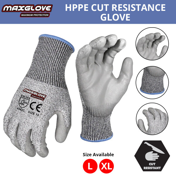 MaxGlove High-Performance Polyethylene (HPPE) Cut Resistant Shell with PU Coated Gloves