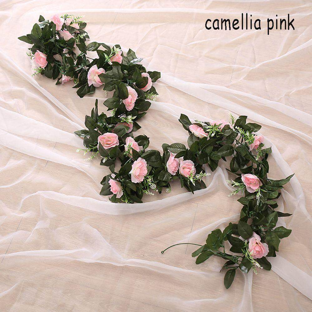 Green Leaves Wedding Party Ivy Vine Camellia Artificial Silk Roses Flowers